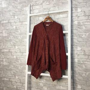 LOGO Lori Goldstein Red Full Zip Cardigan - Small